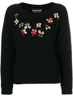 свитер с цветами из бусин  Moschino