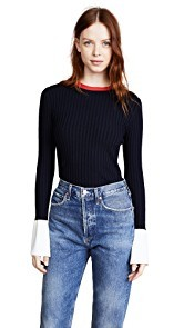 Edition10 Contrast Colored Bell Sleeved Sweater