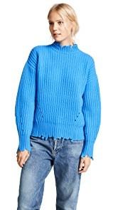 Edition10 Raw Edged Lantern Sleeved Sweater