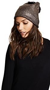 Jocelyn Metallic Beanie Pom Hat