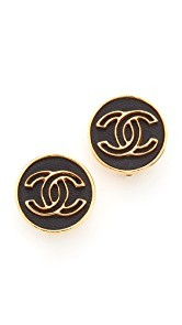What Goes Around Comes Around Chanel Button Clip On Earrings (Previously Owned)