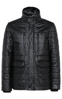 Кожаная куртка на синтепоне с отделкой мехом кролика Jorg Weber