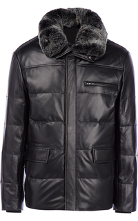 Зимняя кожаная куртка с отделкой мехом кролика Jorg Weber