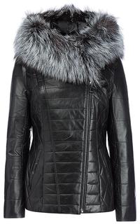 Куртка-трансформер из натуральной кожи с отделкой мехом чернобурки La Reine Blanche