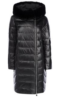 Пальто из натуральной кожи с отделкой мехом кролика La Reine Blanche