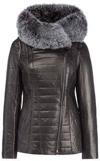 Зимняя кожаная куртка-трансформер с отделкой мехом песца La Reine Blanche