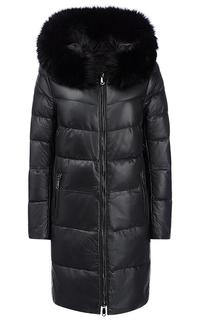 Зимнее кожаное пальто с отделкой мехом песца La Reine Blanche