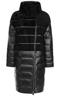Утепленное кожаное пальто с отделкой овчиной La Reine Blanche