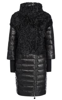 Утепленное кожаное пальто с отделкой мехом козлика La Reine Blanche