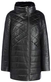 Кожаная куртка на синтепоне с отделкой мехом кролика La Reine Blanche