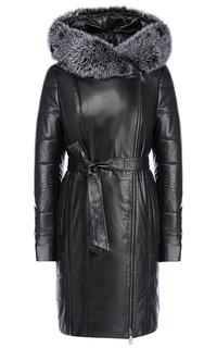 Утепленное кожаное пальто с отделкой мехом песца La Reine Blanche