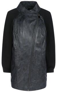 Кожаная куртка с трикотажными рукавами La Reine Blanche