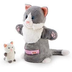 Мягкая игрушка на руку Кошка с котенком, 28 см, Trudi