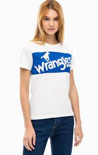 Белая хлопковая футболка с принтом Wrangler
