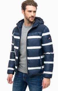 Объемная синяя куртка в полоску Hilfiger Denim