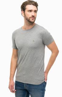 Серая хлопковая футболка с короткими рукавами Lacoste