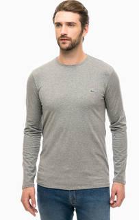 Серая хлопковая футболка с длинными рукавами Lacoste