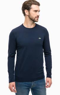 Синяя хлопковая футболка с длинными рукавами Lacoste