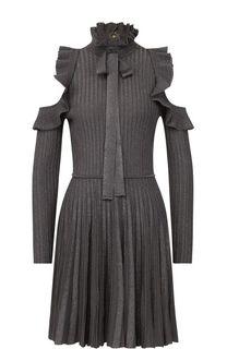 Плиссированное мини-платье с оборками и открытыми плечами Elie Saab