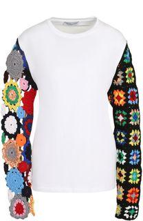 Пуловер с контрастными кружевными рукавами J.W. Anderson