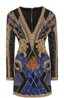 Приталенное мини-платье с контрастной декоративной отделкой Balmain
