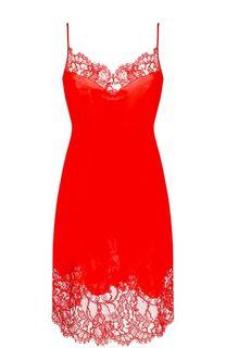 Шелковое платье-комбинация с кружевной отделкой Givenchy