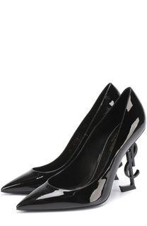 Лаковые туфли Opiym на фигурной шпильке Saint Laurent