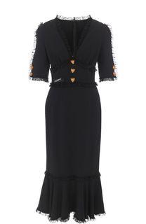 Платье-миди с оборкой и кружевной отделкой Dolce & Gabbana