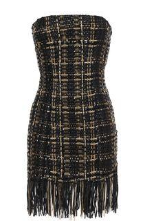 Буклированное платье-бюстье с бахромой Balmain