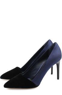 Атласные туфли с бархатной отделкой на шпильке Oscar de la Renta