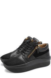 Комбинированные кроссовки Buster Runner на шнуровке с молниями Giuseppe Zanotti Design