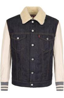 Утепленная джинсовая куртка на пуговицах с кожаными рукавами Junya Watanabe