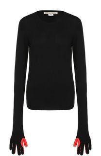 Шерстяной пуловер с круглым вырезом Comme des Garcons
