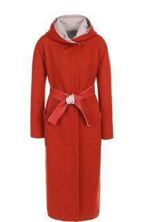 Кашемировое пальто с поясом и капюшоном Loro Piana