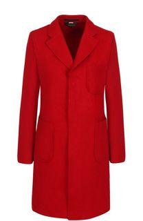 Однотонное шерстяное пальто с накладными карманами Comme des Garcons