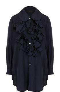 Однотонная блуза свободного кроя с оборками Comme des Garcons
