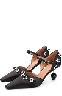 Атласные туфли с аппликациями на фигурном каблуке Marni