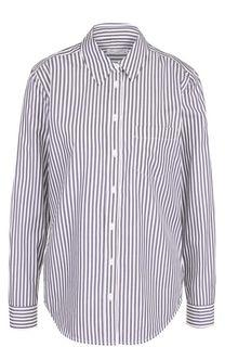 Хлопковая блуза в полоску с вышивкой на спинке Equipment