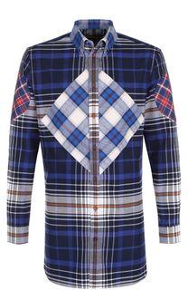 Удлиненная хлопковая рубашка в клетку Givenchy