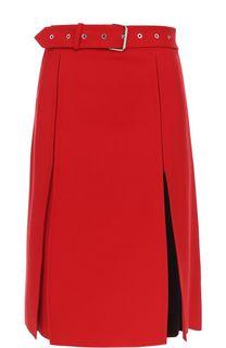 Шерстяная юбка-миди с поясом Helmut Lang