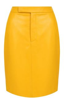 Однотонная кожаная юбка с карманами Ralph Lauren