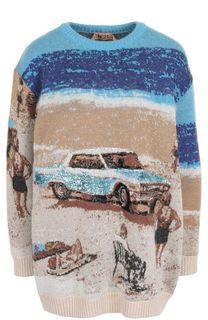 Пуловер с круглым вырезом и принтом No. 21