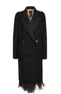 Двубортное шерстное пальто с отделкой из пера страуса No. 21