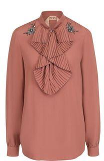 Однотонная блуза с плиссированной отделкой No. 21