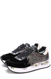 Бархатные кроссовки Holly с декоративной отделкой Premiata
