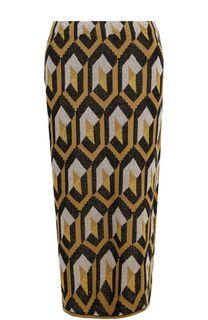 Вязаная юбка-миди с металлизированной нитью Dries Van Noten