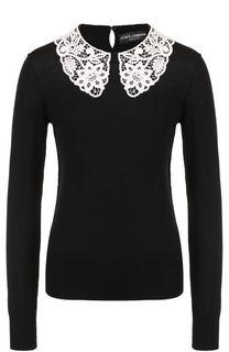 Шерстяной пуловер с контрастным кружевным воротником Dolce & Gabbana