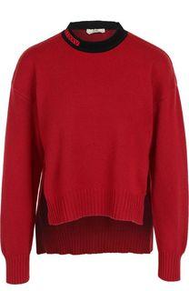 Кашемировый пуловер с контрастным воротником Fendi