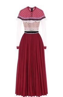Платье-макси с кружевным лифом и юбкой в складку self-portrait