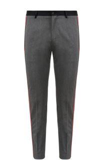 Укороченные брюки из смеси шерсти и хлопка с лампасами Dolce & Gabbana